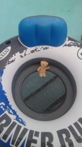 Here he is lounging in the pool on his cool raft.