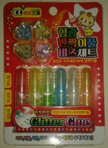 A cool little set that has glitter glue AND sparkles to add to it.  Definitely glittery.
