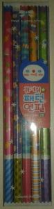 5 pencils with cute little icons all over them.  Each pencil is different.  Fruit, flowers, sea life, owls, and spacemen.